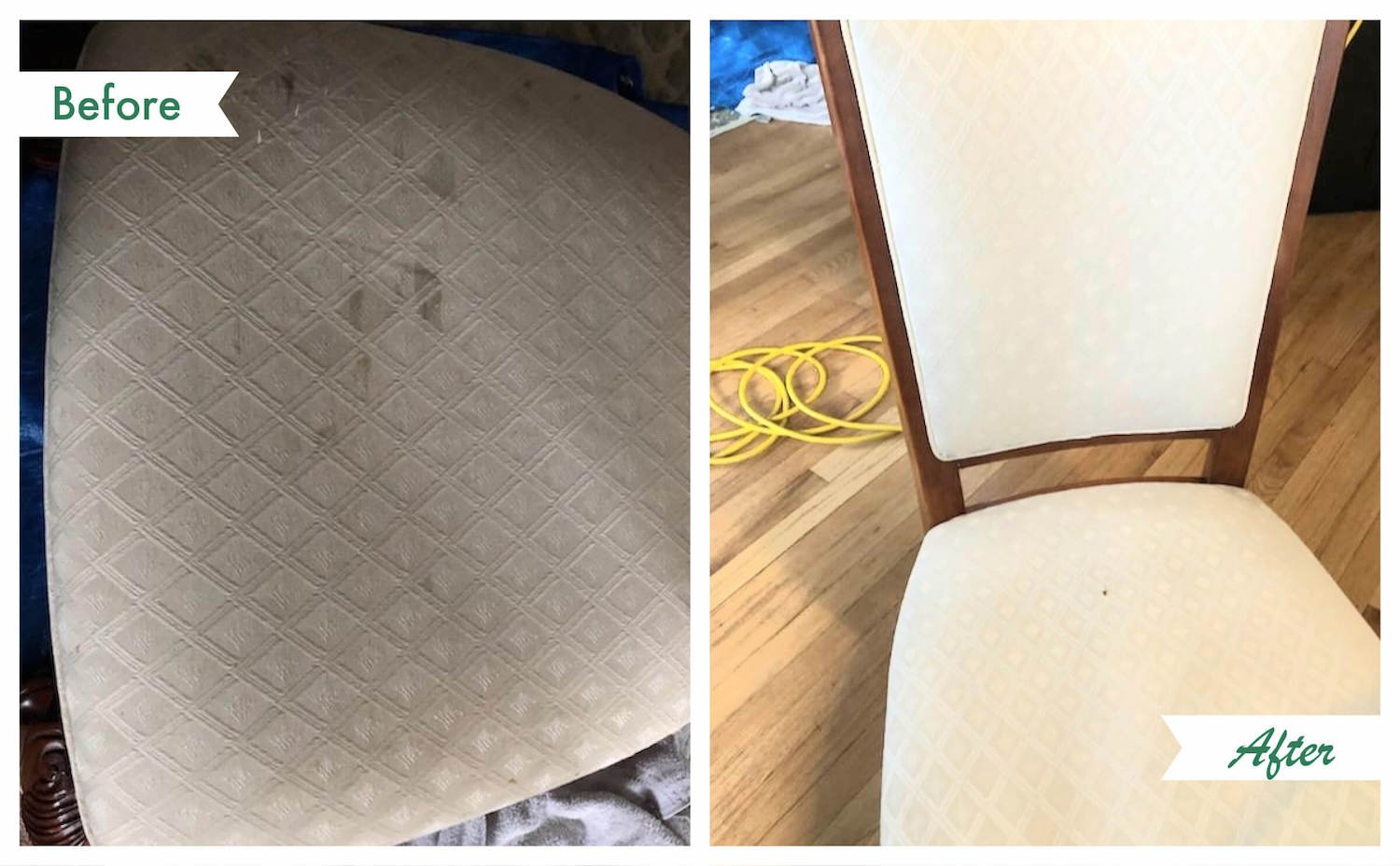 before and after upholstery cleaning in Chicago