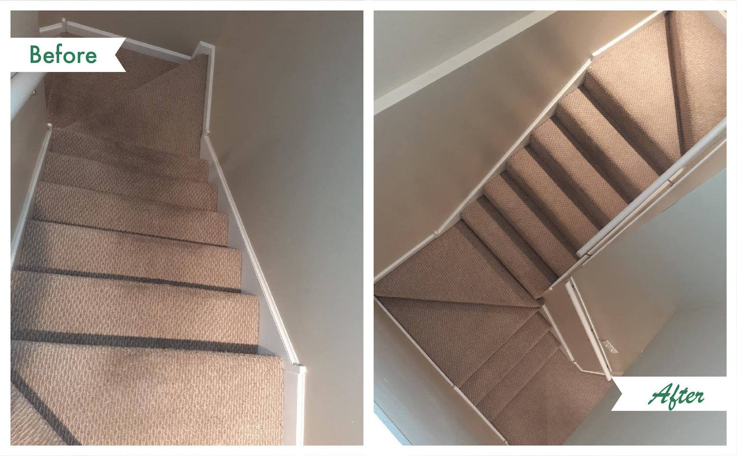 before and after carpet cleaning on stairs.