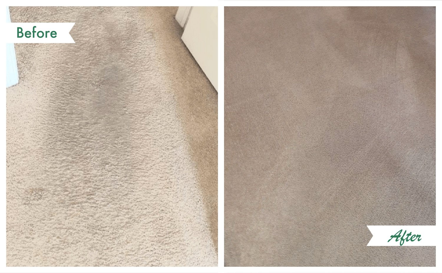 a before and after shot of a carpet we cleaned.